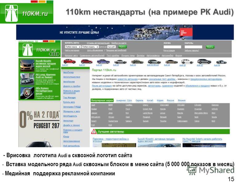 110km нестандарты (на примере РК Audi) - Врисовка логотипа Audi в сквозной логотип сайта - Вставка модельного ряда Audi сквозным блоком в меню сайта (5 000 000 показов в месяц) - Медийная поддержка рекламной компании 15