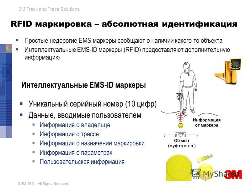© 3M 2011. All Rights Reserved. 3M Track and Trace Solutions RFID маркировка – абсолютная идентификация Уникальный серийный номер (10 цифр) Данные, вводимые пользователем Информация о владельце Информация о трассе Информация о назначении маркировки И