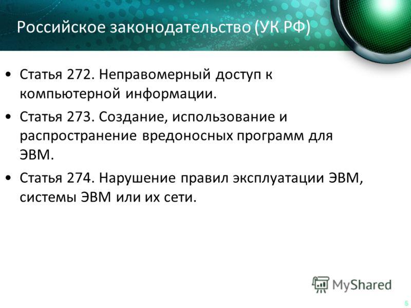 55 Российское законодательство (УК РФ) Статья 272. Неправомерный доступ к компьютерной информации. Статья 273. Создание, использование и распространение вредоносных программ для ЭВМ. Статья 274. Нарушение правил эксплуатации ЭВМ, системы ЭВМ или их с