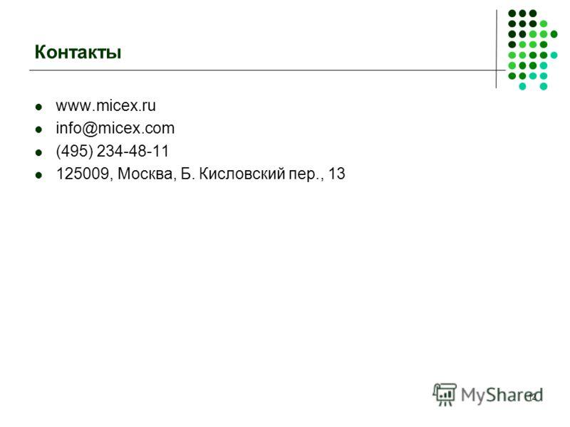 12 Контакты www.micex.ru info@micex.com (495) 234-48-11 125009, Москва, Б. Кисловский пер., 13