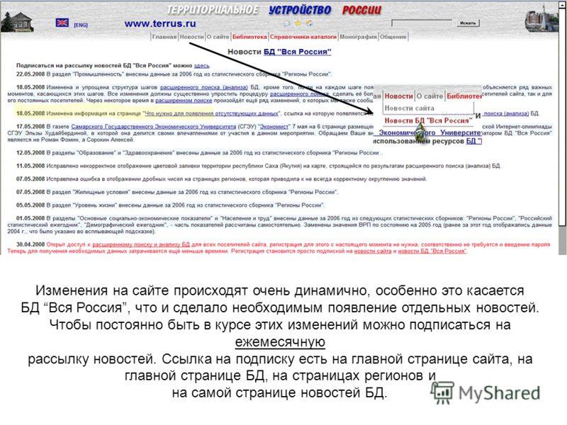 Изменения на сайте происходят очень динамично, особенно это касается БД Вся Россия, что и сделало необходимым появление отдельных новостей. Чтобы постоянно быть в курсе этих изменений можно подписаться на ежемесячную рассылку новостей. Ссылка на подп