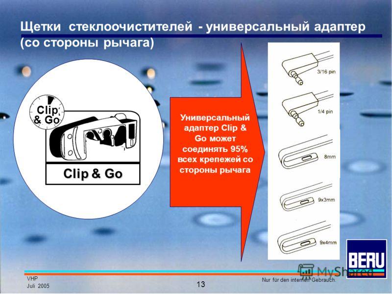 VHP Juli 2005 Nur für den internen Gebrauch. 13 Щетки стеклоочистителей - универсальный адаптер (со стороны рычага) Универсальный адаптер Clip & Go может соединять 95% всех крепежей со стороны рычага Clip & Go Clip & Go