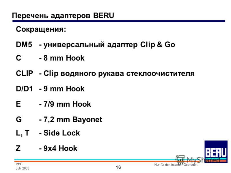 VHP Juli 2005 Nur für den internen Gebrauch. 16 Перечень адаптеров BERU DM5- универсальный адаптер Clip & Go C- 8 mm Hook CLIP- Clip водяного рукава стеклоочистителя D/D1- 9 mm Hook E- 7/9 mm Hook G- 7,2 mm Bayonet Z- 9x4 Hook Сокращения: L, T- Side