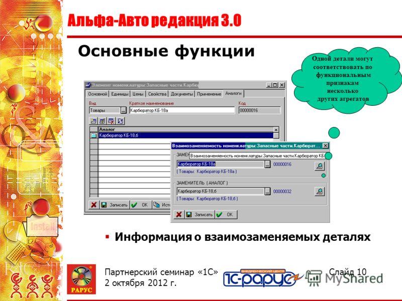 Альфа-Авто редакция 3.0 Слайд 10Партнерский семинар «1С» 2 августа 2012 г. Информация о взаимозаменяемых деталях Основные функции Одной детали могут соответствовать по функциональным признакам несколько других агрегатов