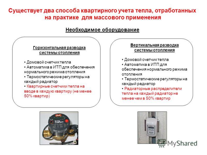 Горизонтальная разводка системы отопления Домовой счетчик тепла Автоматика в ИТП для обеспечения нормального режима отопления Термостатические регуляторы на каждый радиатор Квартирные счетчики тепла на вводе в каждую квартиру (не менее 50% квартир) Н