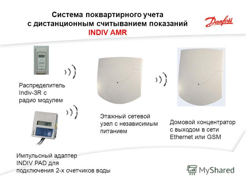 Система поквартирного учета с дистанционным считыванием показаний INDIV AMR Распределитель Indiv-3R c радио модулем Импульсный адаптер INDIV PAD для подключения 2-х счетчиков воды Этажный сетевой узел с независимым питанием Домовой концентратор с вых