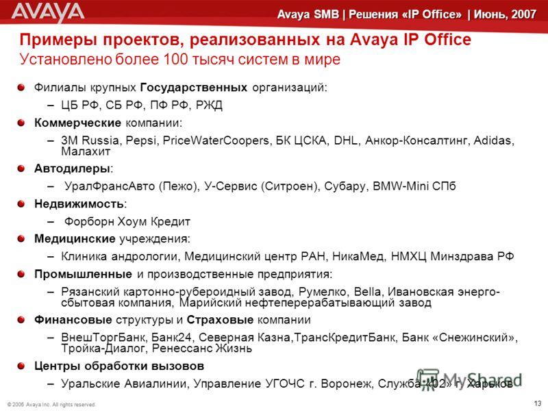 © 2006 Avaya Inc. All rights reserved.© 2005 Avaya Inc. All rights reserved. 13 Avaya SMB | Решения «IP Office» | Июнь, 2007 Примеры проектов, реализованных на Avaya IP Office Установлено более 100 тысяч систем в мире Филиалы крупных Государственных