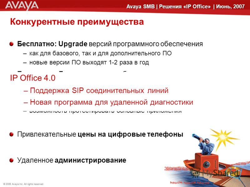 © 2006 Avaya Inc. All rights reserved.© 2005 Avaya Inc. All rights reserved. 15 Avaya SMB | Решения «IP Office» | Июнь, 2007 Конкурентные преимущества Бесплатно: Upgrade версий программного обеспечения –как для базового, так и для дополнительного ПО