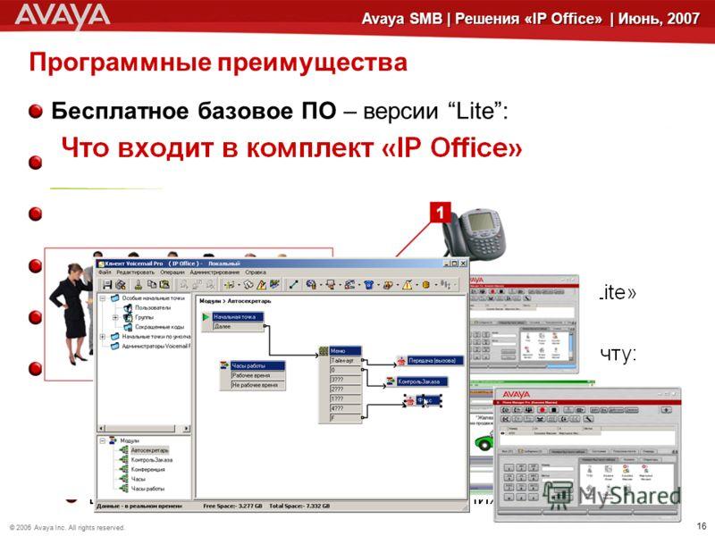 © 2006 Avaya Inc. All rights reserved.© 2005 Avaya Inc. All rights reserved. 16 Avaya SMB | Решения «IP Office» | Июнь, 2007 Программные преимущества Бесплатное базовое ПО – версии Lite: Аудио конференции (до 64 участников) Многоуровневые структуры (