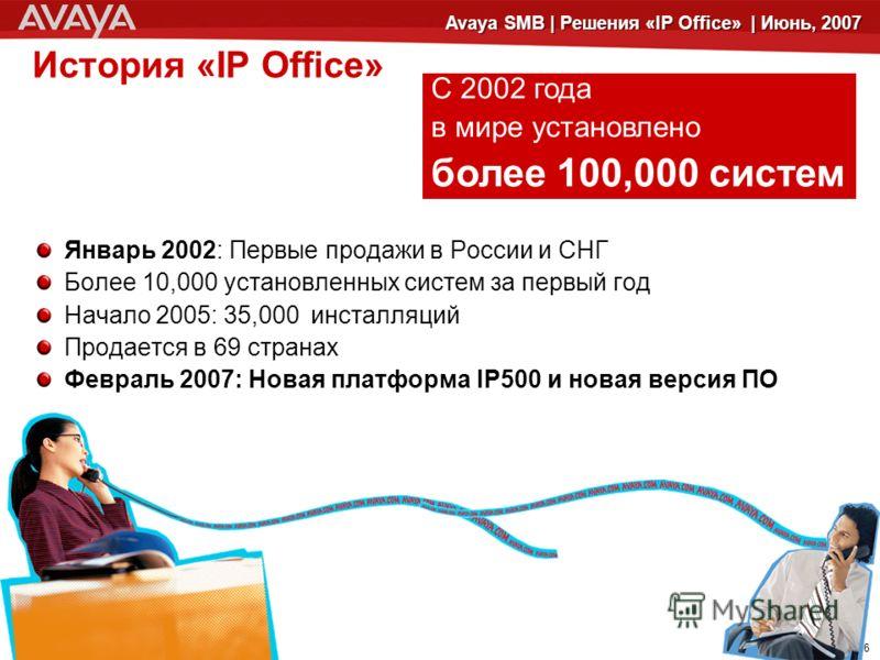 © 2006 Avaya Inc. All rights reserved.© 2005 Avaya Inc. All rights reserved. 6 Avaya SMB | Решения «IP Office» | Июнь, 2007 История «IP Office» Январь 2002: Первые продажи в России и СНГ Более 10,000 установленных систем за первый год Начало 2005: 35