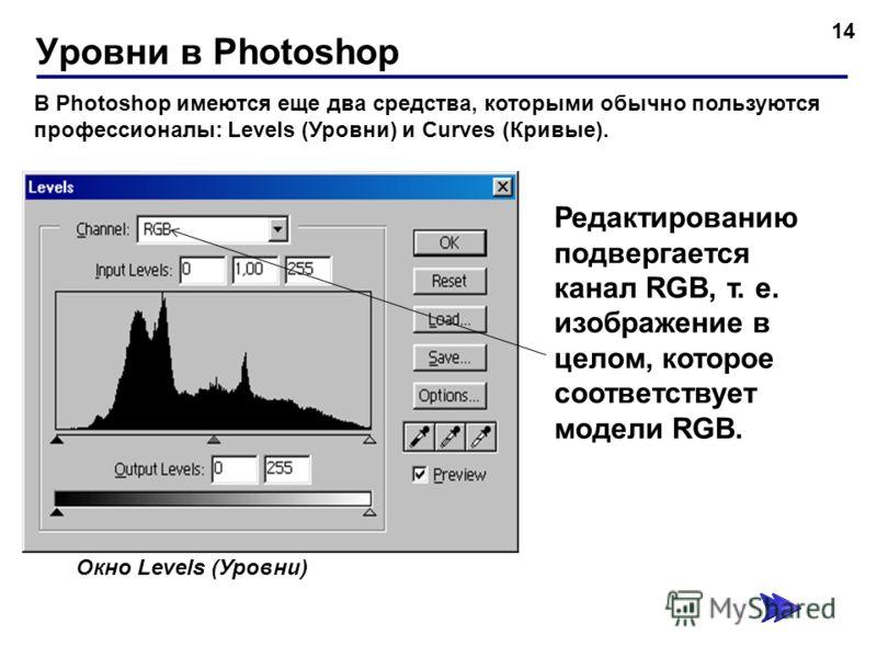 Уровни в Photoshop 14 В Photoshop имеются еще два средства, которыми обычно пользуются профессионалы: Levels (Уровни) и Curves (Кривые). Окно Levels (Уровни) Редактированию подвергается канал RGB, т. е. изображение в целом, которое соответствует моде