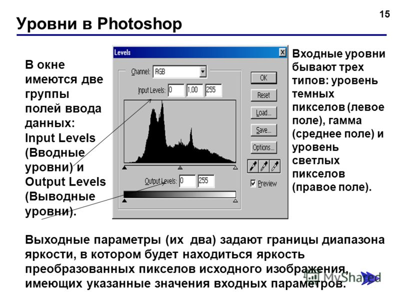 Уровни в Photoshop 15 В окне имеются две группы полей ввода данных: Input Levels (Вводные уровни) и Output Levels (Выводные уровни). Входные уровни бывают трех типов: уровень темных пикселов (левое поле), гамма (среднее поле) и уровень светлых пиксел