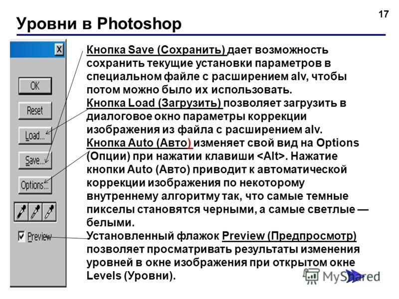 Уровни в Photoshop 17 Кнопка Save (Сохранить) дает возможность сохранить текущие установки параметров в специальном файле с расширением alv, чтобы потом можно было их использовать. Кнопка Load (Загрузить) позволяет загрузить в диалоговое окно парамет