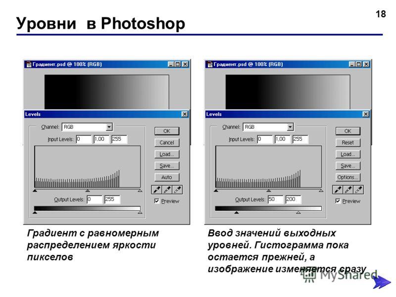 Уровни в Photoshop 18 Градиент с равномерным распределением яркости пикселов Ввод значений выходных уровней. Гистограмма пока остается прежней, а изображение изменяется сразу