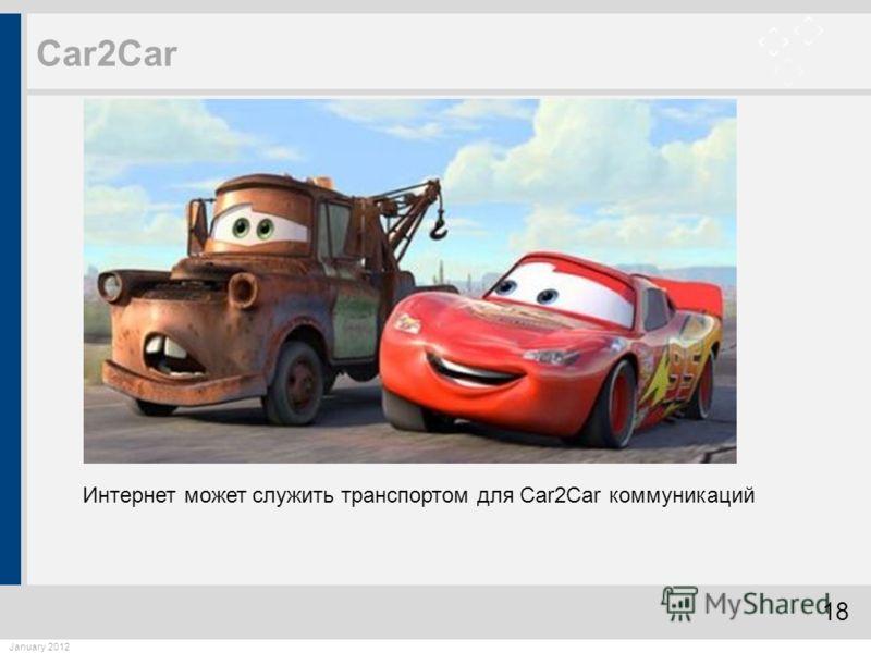 18 January 2012 Car2Car Интернет может служить транспортом для Car2Car коммуникаций