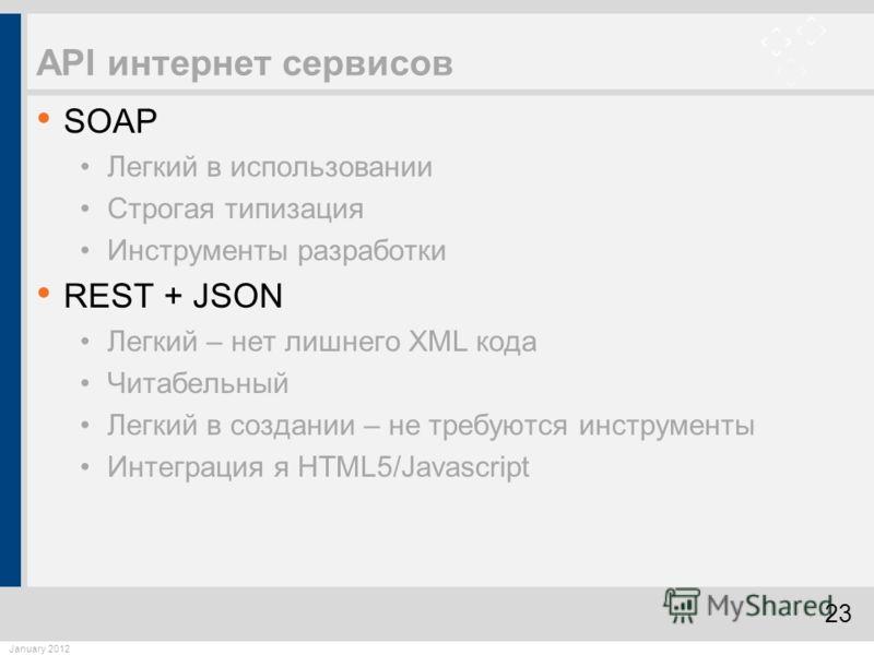 23 January 2012 API интернет сервисов SOAP Легкий в использовании Строгая типизация Инструменты разработки REST + JSON Легкий – нет лишнего XML кода Читабельный Легкий в создании – не требуются инструменты Интеграция я HTML5/Javascript