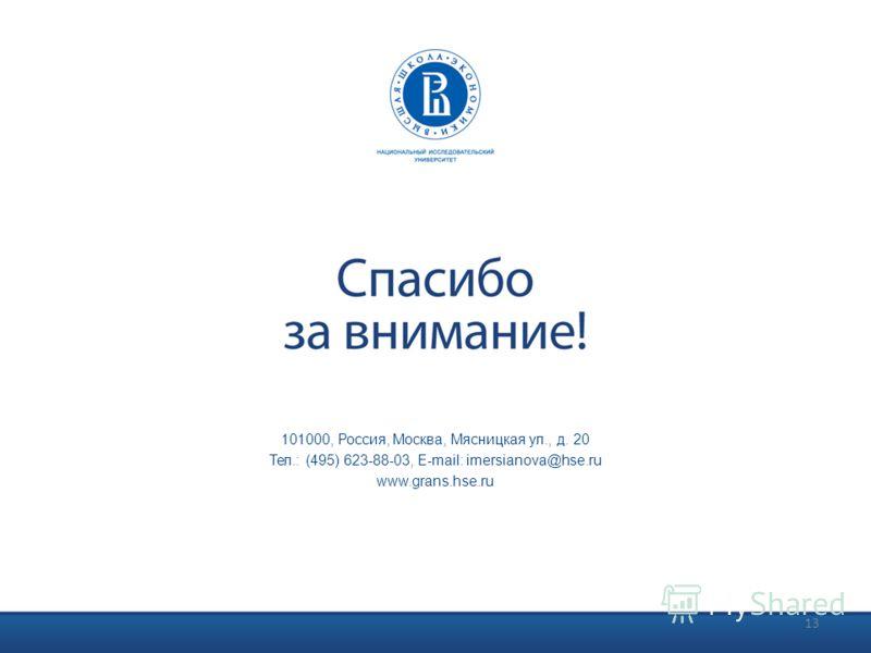 101000, Россия, Москва, Мясницкая ул., д. 20 Тел.: (495) 623-88-03, E-mail: imersianova@hse.ru www.grans.hse.ru 13