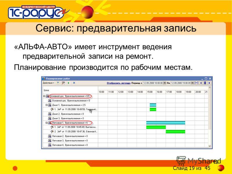 Слайд 19 из 45 19 «АЛЬФА-АВТО» имеет инструмент ведения предварительной записи на ремонт. Планирование производится по рабочим местам. Сервис: предварительная запись