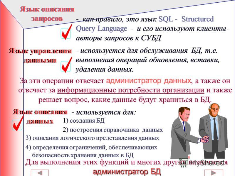 1) Управленческая: ввод и хранение данных, доступ к данным, защита данных 2) Обеспечение резервного копирования данных (для восстановления БД в случае аварии ) 3) Контроль (отслеживание) целостности данных (данные не должны быть противоречивыми, могу