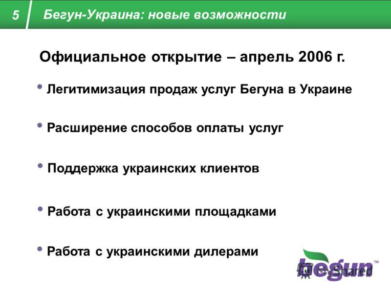 Бегун-Украина: новые возможности 5 Официальное открытие – апрель 2006 г. Легитимизация продаж услуг Бегуна в Украине Поддержка украинских клиентов Работа с украинскими площадками Работа с украинскими дилерами Расширение способов оплаты услуг