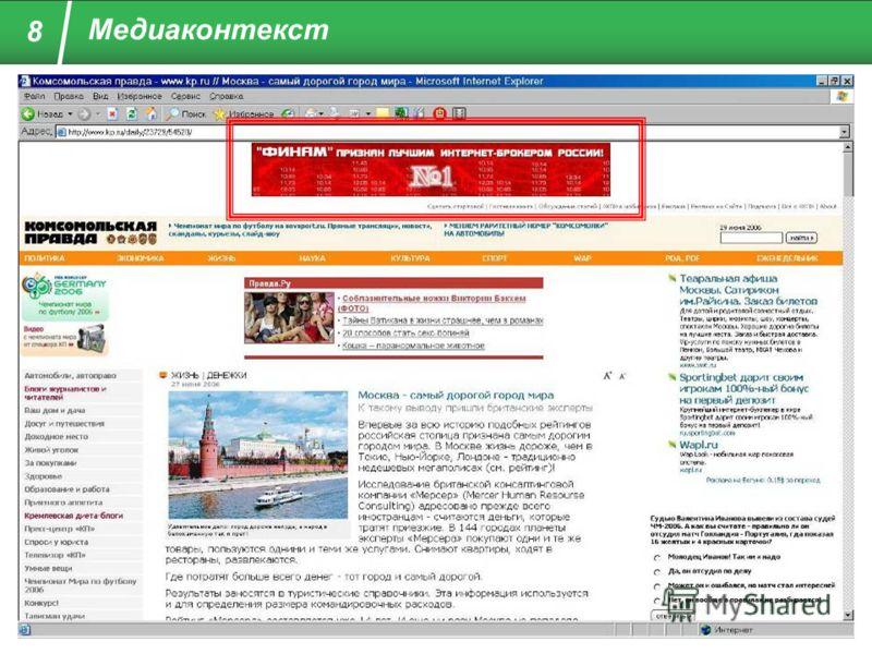 Пример: Контекстные показы 8 Медиаконтекст