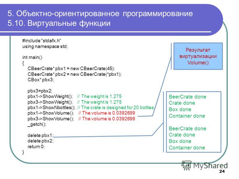 5. Объектно-ориентированное программирование 5.10. Виртуальные функции 24 #include