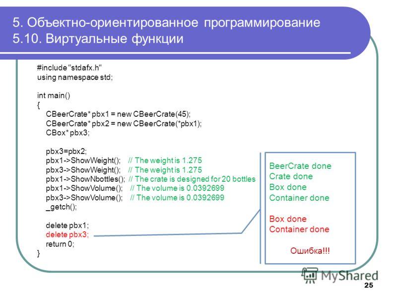 5. Объектно-ориентированное программирование 5.10. Виртуальные функции 25 #include