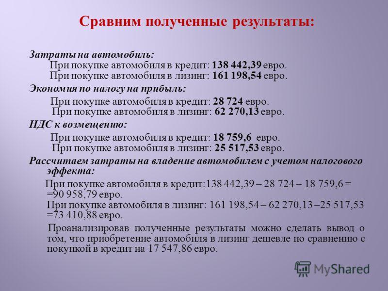 Сравним полученные результаты : Затраты на автомобиль : При покупке автомобиля в кредит : 138 442,39 евро. При покупке автомобиля в лизинг : 161 198,54 евро. Экономия по налогу на прибыль : При покупке автомобиля в кредит : 28 724 евро. При покупке а