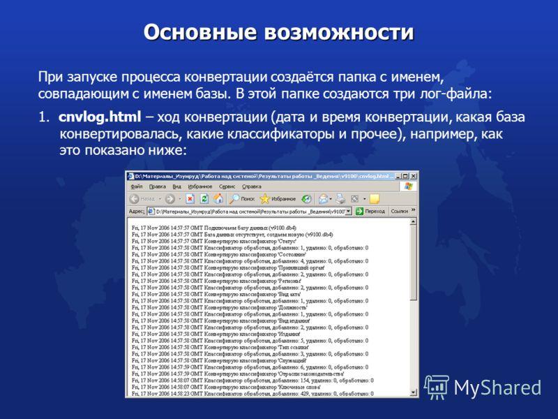 При запуске процесса конвертации создаётся папка с именем, совпадающим с именем базы. В этой папке создаются три лог-файла: Основные возможности 1. cnvlog.html – ход конвертации (дата и время конвертации, какая база конвертировалась, какие классифика