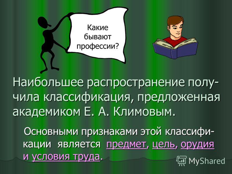 Наибольшее распространение полу- чила классификация, предложенная академиком Е. А. Климовым. Основными признаками этой классифи- кации является предмет, цель, орудия и условия труда. Какие бывают профессии?
