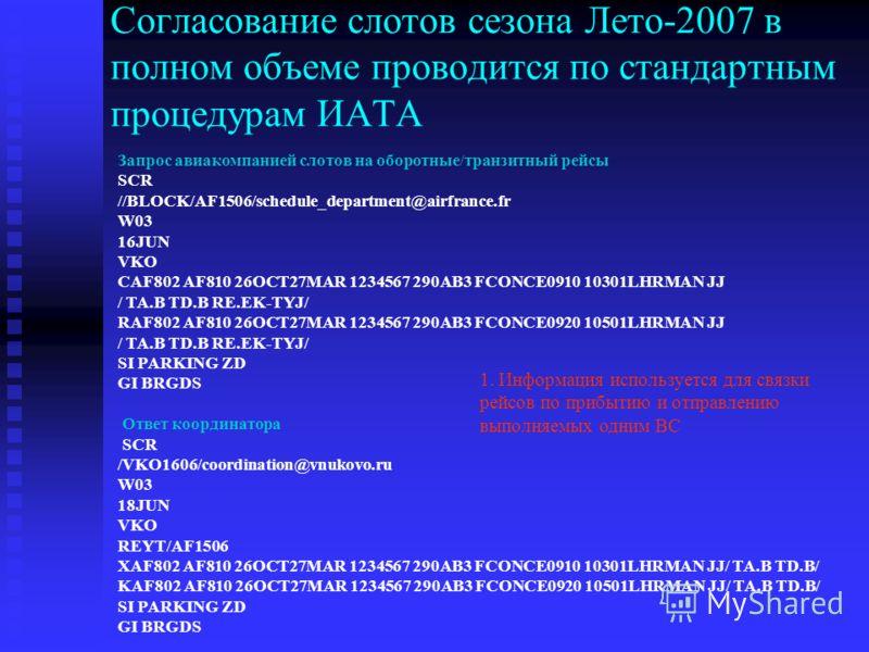 Согласование слотов сезона Лето-2007 в полном объеме проводится по стандартным процедурам ИАТА Запрос авиакомпанией слотов на оборотные/транзитный рейсы SCR //BLOCK/AF1506/schedule_department@airfrance.fr W03 16JUN VKO CAF802 AF810 26OCT27MAR 1234567