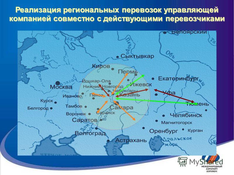 Реализация региональных перевозок управляющей компанией совместно с действующими перевозчиками