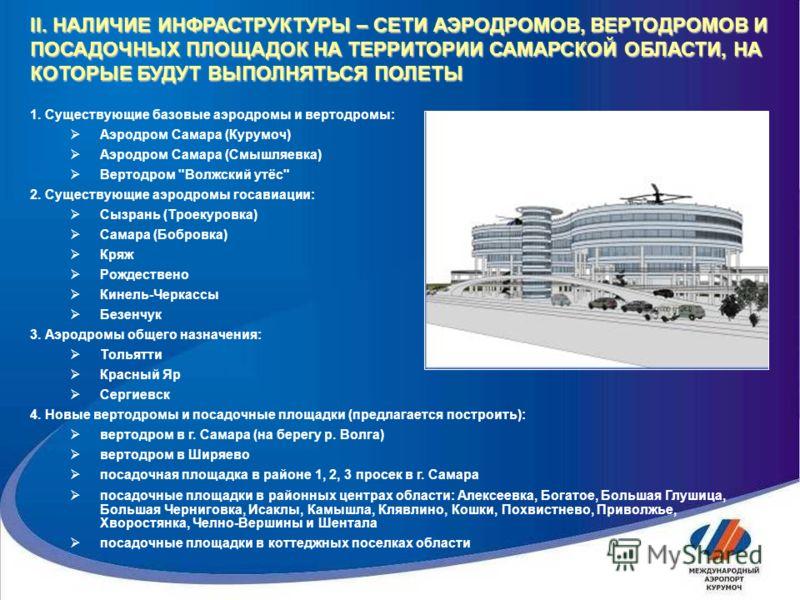 1. Существующие базовые аэродромы и вертодромы: Аэродром Самара (Курумоч) Аэродром Самара (Смышляевка) Вертодром