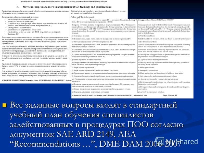 Все заданные вопросы входят в стандартный учебный план обучения специалистов задействованных в процедурах ПОО согласно документов: SAE ARD 2149, AEA Recommendations …, DME DAM 2006-2007 Все заданные вопросы входят в стандартный учебный план обучения