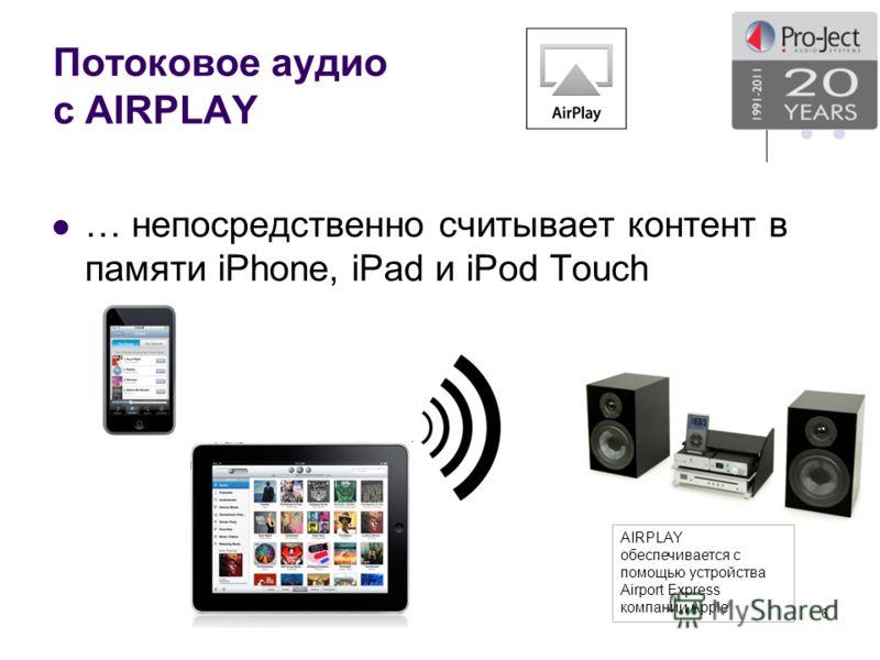 Потоковое аудио с AIRPLAY … непосредственно считывает контент в памяти iPhone, iPad и iPоd Touch 6 AIRPLAY обеспечивается с помощью устройства Airport Express компании Apple