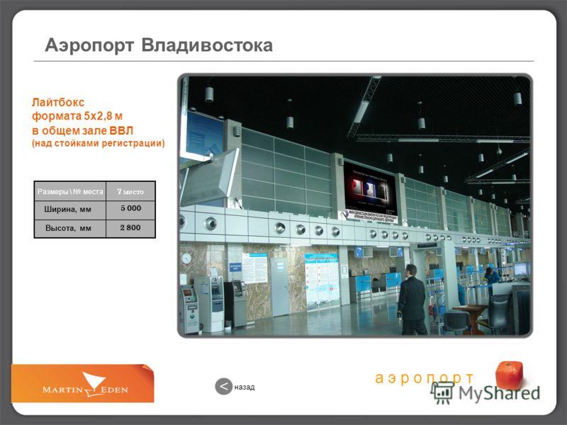 а э р о п о р т 2 800 5 000 Лайтбокс формата 5х2,8 м в общем зале ВВЛ (над стойками регистрации) 7 место Размеры \ места Ширина, мм Высота, мм Аэропорт Владивостока назад