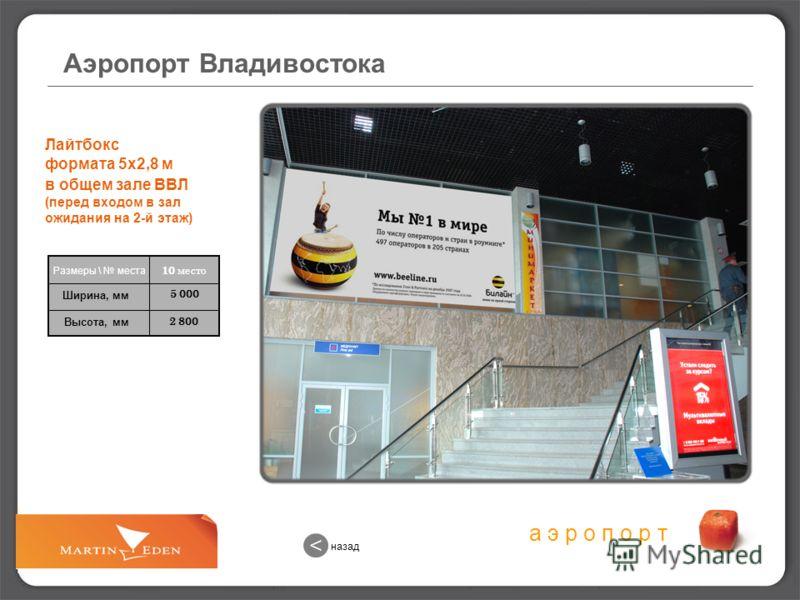 а э р о п о р т 2 800 5 000 Лайтбокс формата 5х2,8 м в общем зале ВВЛ (перед входом в зал ожидания на 2-й этаж) 10 место Размеры \ места Ширина, мм Высота, мм Аэропорт Владивостока назад