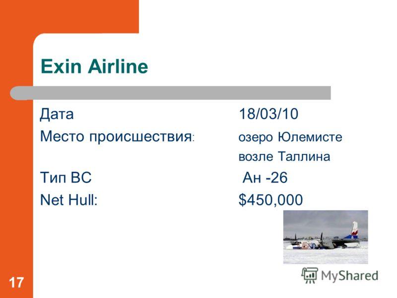 Exin Airline Дата18/03/10 Место происшествия : озеро Юлемисте возле Таллина Тип ВС Ан -26 Net Hull:$450,000 17