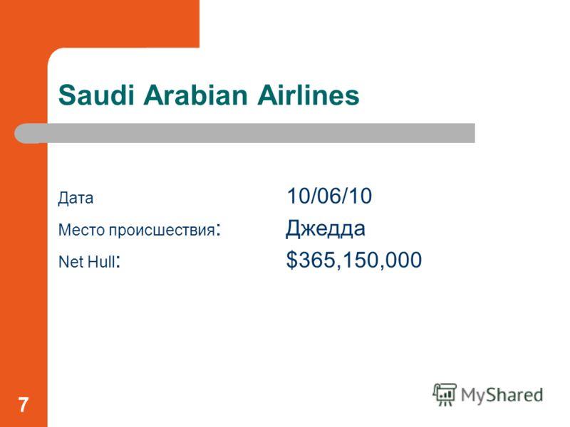 Saudi Arabian Airlines Дата 10/06/10 Место происшествия : Джедда Net Hull :$365,150,000 7