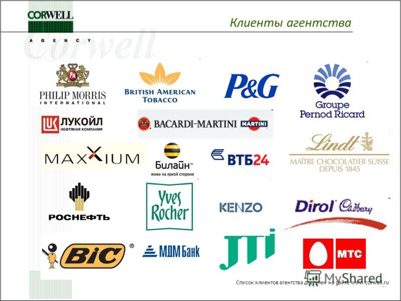 Список клиентов агентства доступен на сайте www.corwell.ru Клиенты агентства