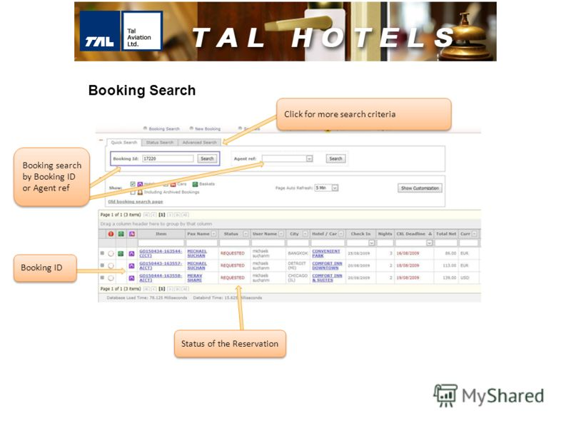 Click for more search criteria Booking ID Status of the Reservation Booking Search Booking search by Booking ID or Agent ref