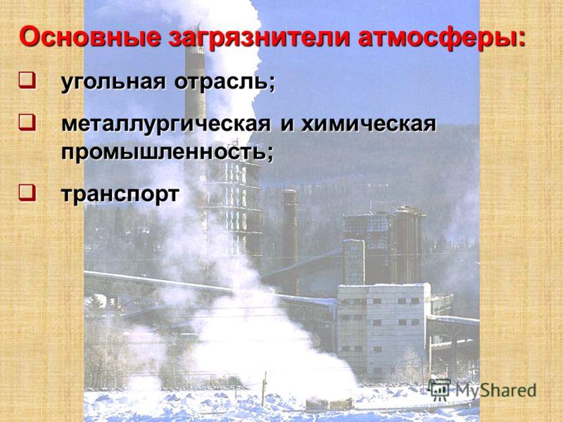 Основные загрязнители атмосферы: угольная отрасль; угольная отрасль; металлургическая и химическая промышленность; металлургическая и химическая промышленность; транспорт транспорт