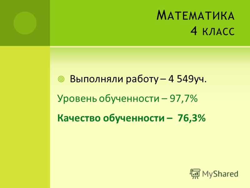М АТЕМАТИКА 4 КЛАСС Выполняли работу – 4 549уч. Уровень обученности – 97,7% Качество обученности – 76,3%