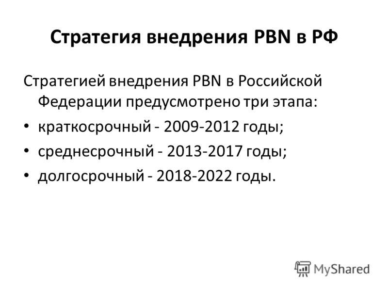 Стратегия внедрения PBN в РФ Стратегией внедрения PBN в Российской Федерации предусмотрено три этапа: краткосрочный - 2009-2012 годы; среднесрочный - 2013-2017 годы; долгосрочный - 2018-2022 годы.