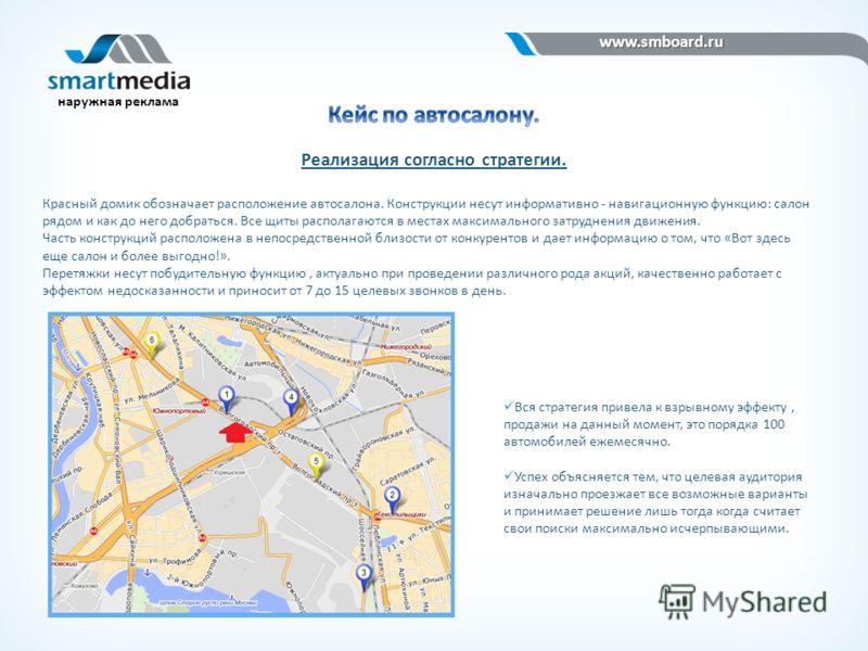 www.smboard.ru www.smboard.ru наружная реклама Реализация согласно стратегии. Красный домик обозначает расположение автосалона. Конструкции несут информативно - навигационную функцию: салон рядом и как до него добраться. Все щиты располагаются в мест