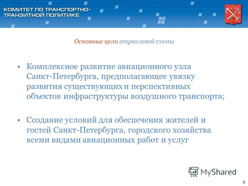 Основные цели отраслевой схемы Комплексное развитие авиационного узла Санкт-Петербурга, предполагающее увязку развития существующих и перспективных объектов инфраструктуры воздушного транспорта; Создание условий для обеспечения жителей и гостей Санкт