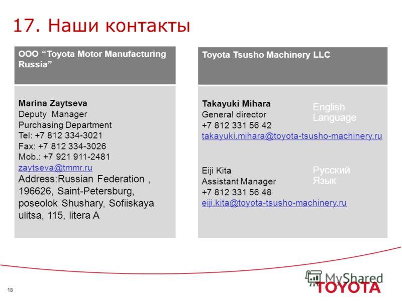 18 17. Наши контакты Toyota Tsusho Machinery LLC Takayuki Mihara General director +7 812 331 56 42 takayuki.mihara@toyota-tsusho-machinery.ru Eiji Kita Assistant Manager +7 812 331 56 48 eiji.kita@toyota-tsusho-machinery.ru OOO Toyota Motor Manufactu