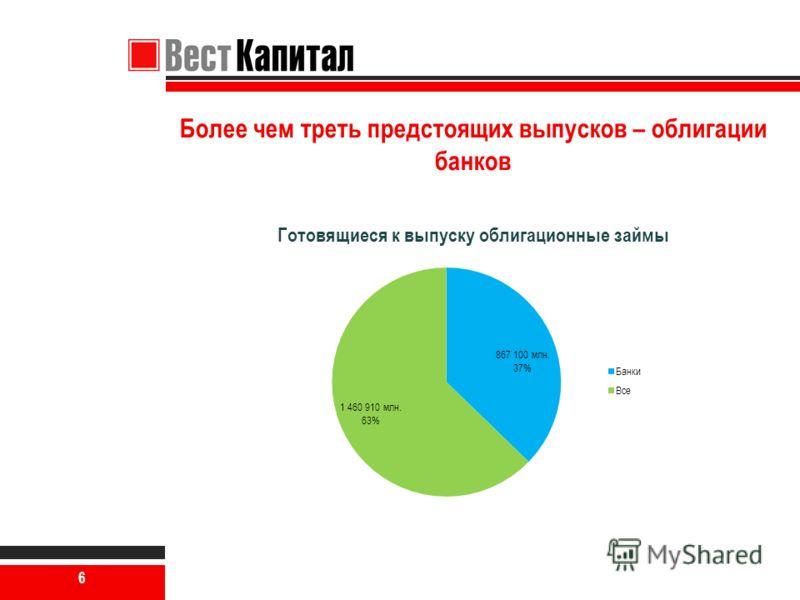 6 Более чем треть предстоящих выпусков – облигации банков