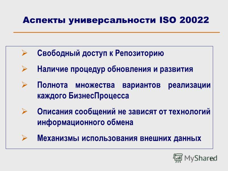 11 Аспекты универсальности ISO 20022 Свободный доступ к Репозиторию Наличие процедур обновления и развития Полнота множества вариантов реализации каждого БизнесПроцесса Описания сообщений не зависят от технологий информационного обмена Механизмы испо