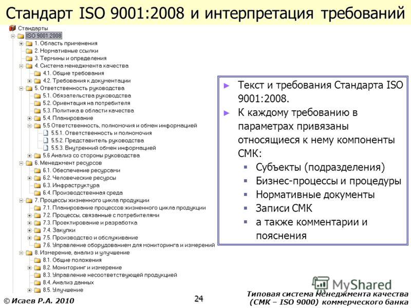 Типовая система менеджмента качества (СМК – ISO 9000) коммерческого банка 24 © Исаев Р.А. 2010 Стандарт ISO 9001:2008 и интерпретация требований Текст и требования Стандарта ISO 9001:2008. К каждому требованию в параметрах привязаны относящиеся к нем